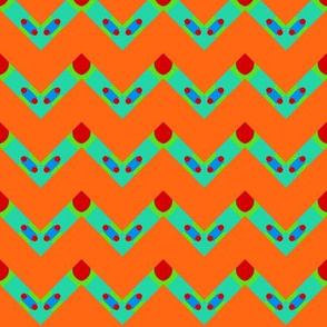 Multi Chevron on Orange  / Silly Silly Monsters Collection