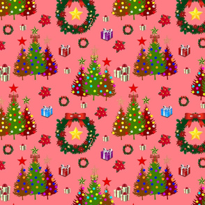 O' Christmas Trees! #1 Coral Pink, Medium