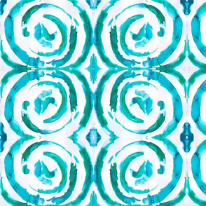 Peacock Turquoise Spiral Pattern