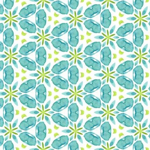 19-11r  Green Blue White Teal Watercolor Repeat