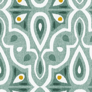 Broderie - Ikat Geometric Eucalyptus Jumbo Scale