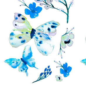Vibrant Blue Butterflies and Flowers