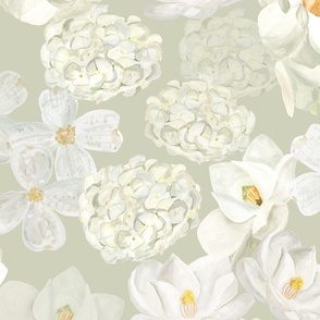 White Flowers - Pale Green