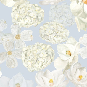 White Flowers- Pale Blue