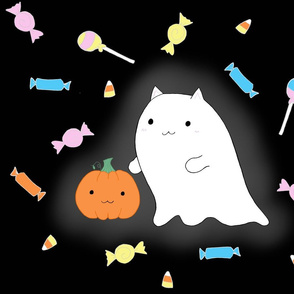 trick or treating ghost kitty