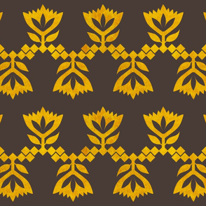 Golden-brown-lotus-small-pattern