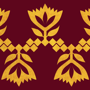 Bordeaux-golden-Lotus-big-pattern