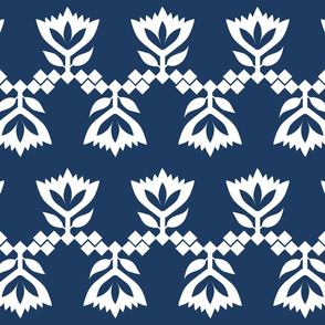 Navy-White-lotus-small-pattern