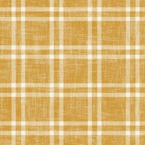 bright minimal plaid on ochre linen
