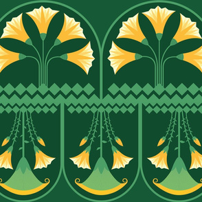 Green-yellow Lotus-bunch-pattern