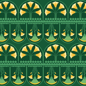 Green-yellow-Lotus-bunch-small-pattern