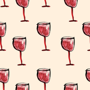 Glass of wine in watercolor by MahsaWatercolor