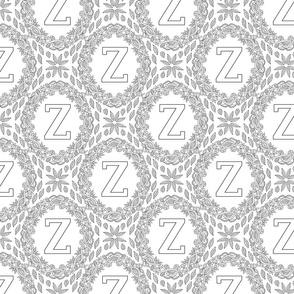 Monogram Z Black And White Wreath Initial Letter Monochrome