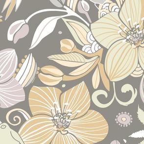 Helleborus and birds | gray
