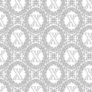 letter-X-black-white-wreath-SF-PATTERN-0819