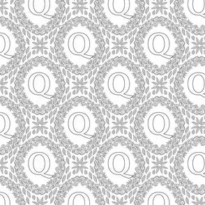 Monogram Q Black And White Wreath Initial Letter Monochrome