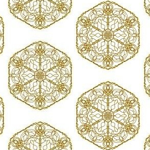 Golden Cobweb Lace Doilies on White
