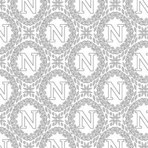 letter-N-black-white-wreath-SF-PATTERN-0819