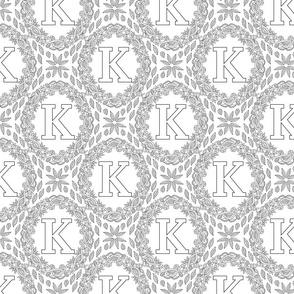 letter-K-black-white-wreath-SF-PATTERN-0819