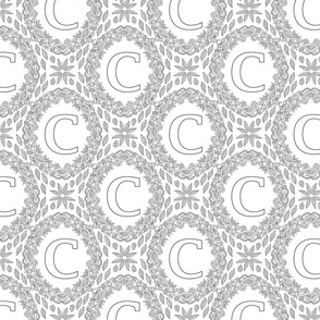 letter-C-black-white-wreath-SF-PATTERN-0819