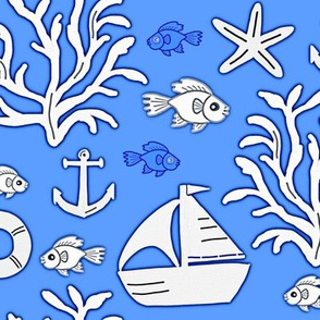 Boat and sea (light blue) - Bateau et mer (bleu clair)