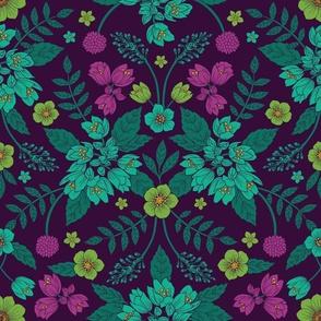 Purple, Teal, Magenta, Green & Yellow Floral Pattern