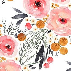 Rustic Boho Mountain Floral Watercolor