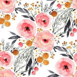 Rustic Boho Mountain Floral Watercolor - Medium