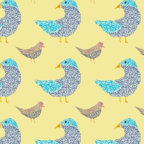 Birds in rows against a yellow background