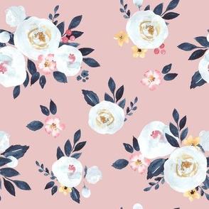 Amelia Watercolor Floral in Blush Pink - Medium