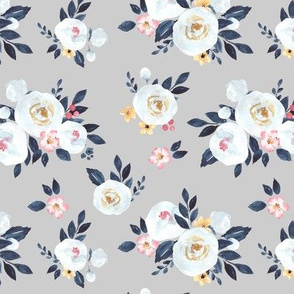Amelia White Watercolor Floral in Gray - Small