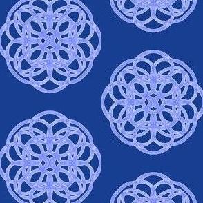 Sparkling Gem Flowers on Navy Blue