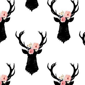 Black Deer Head Silhouette with Pink Flowers on White