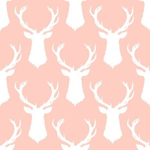 Pink and White Deer Head Silhouette