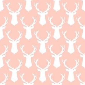 Pink and White Deer Head Silhouette - Small