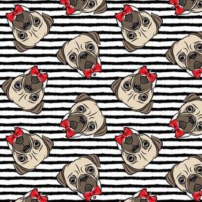 Formal Pug - pug with bowties - stripes - LAD19