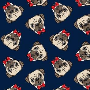 Formal Pug - pug with bowties - navy - LAD19