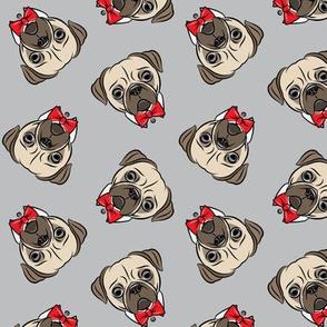 Formal Pug - pug with bowties - grey - LAD19