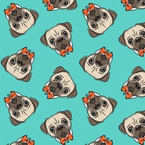 Formal Pug - pug with bowties - orange on teal - LAD19