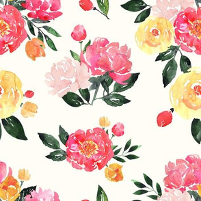 Pink Peony Watercolor Floral on Cream