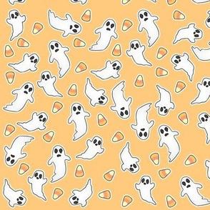 Tossed Ghost Corn on orange coordinate