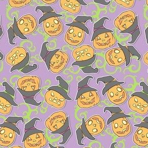 Tossed Pumpkin Witches on Purple