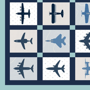 Airplane 1-yard Cheater Quilt