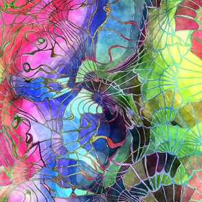 TRADITIONAL JAPANESE 1 GONE CRAZY WATERCOLOR PSYCHEDELIC FLWRHT