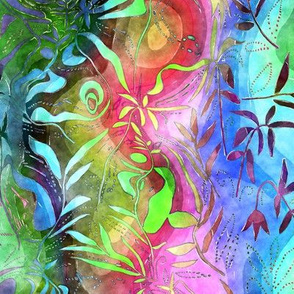 TRADITIONAL JAPANESE 3 GONE CRAZY LEAVES WATERCOLOR PSYCHEDELIC FLWRHT