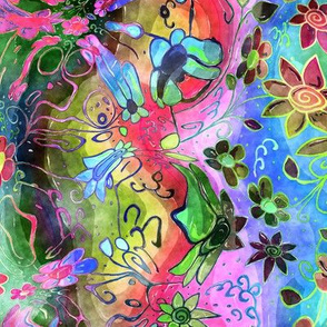 TRADITIONAL JAPANESE 4 GONE CRAZY DAISIES FLOWERS WATERCOLOR PSYCHEDELIC FLWRHT