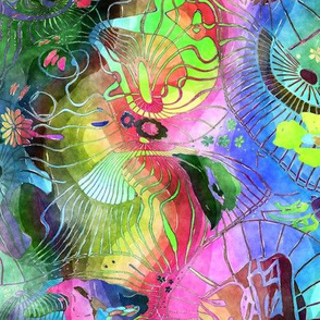 TRADITIONAL JAPANESE 7 GONE CRAZY UMBRELLA WATERCOLOR PSYCHEDELIC FLWRHT