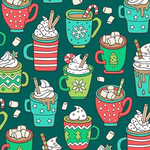 Hot Winter Christmas Drinks with Marshmallows on Dark Green