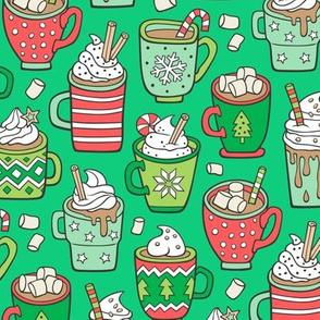 Hot Winter Christmas Drinks with Marshmallows on Green
