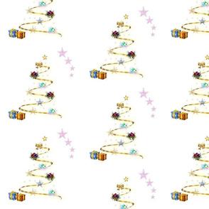 Christmas Trees Aglow - snow white